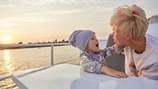 Mom and daughter on boat